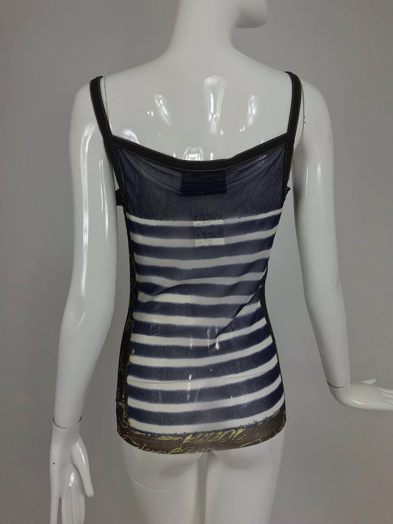 Jean Paul Gaultier signed nautical stripe mesh tank top dated 2001-02 For Sale 3