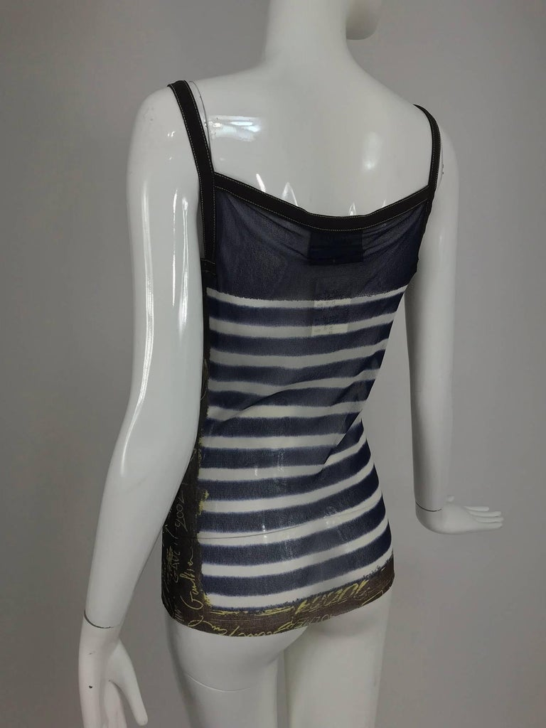 Jean Paul Gaultier signed nautical stripe mesh tank top dated 2001-02 For Sale 4