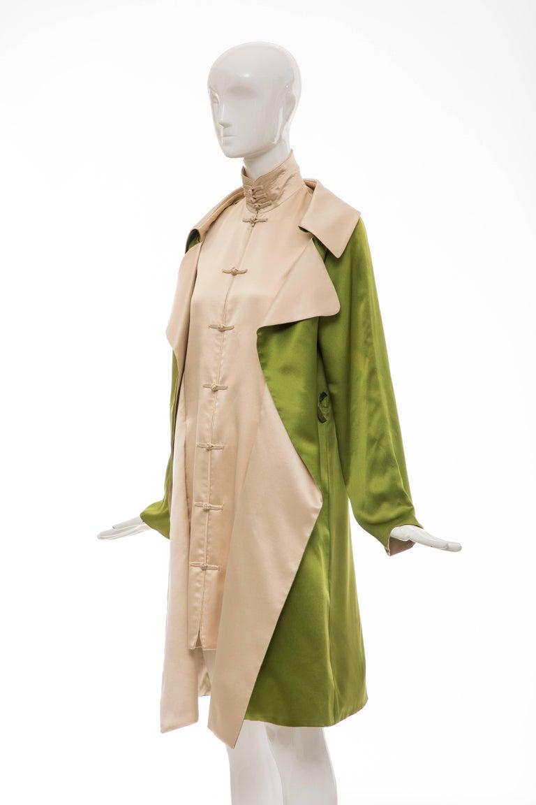 Jean Paul Gaultier Silk Charmeuse Dress Coat, Fall 2010 For Sale 5