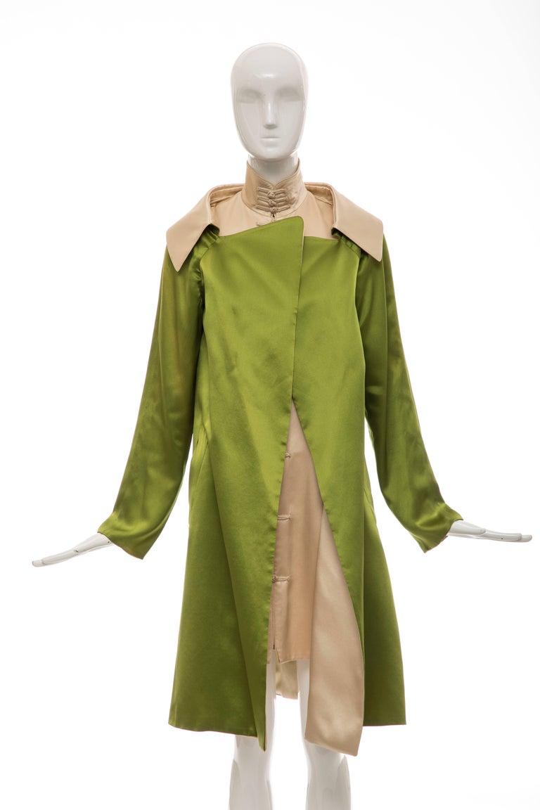 Jean Paul Gaultier Silk Charmeuse Dress Coat, Fall 2010 For Sale 6