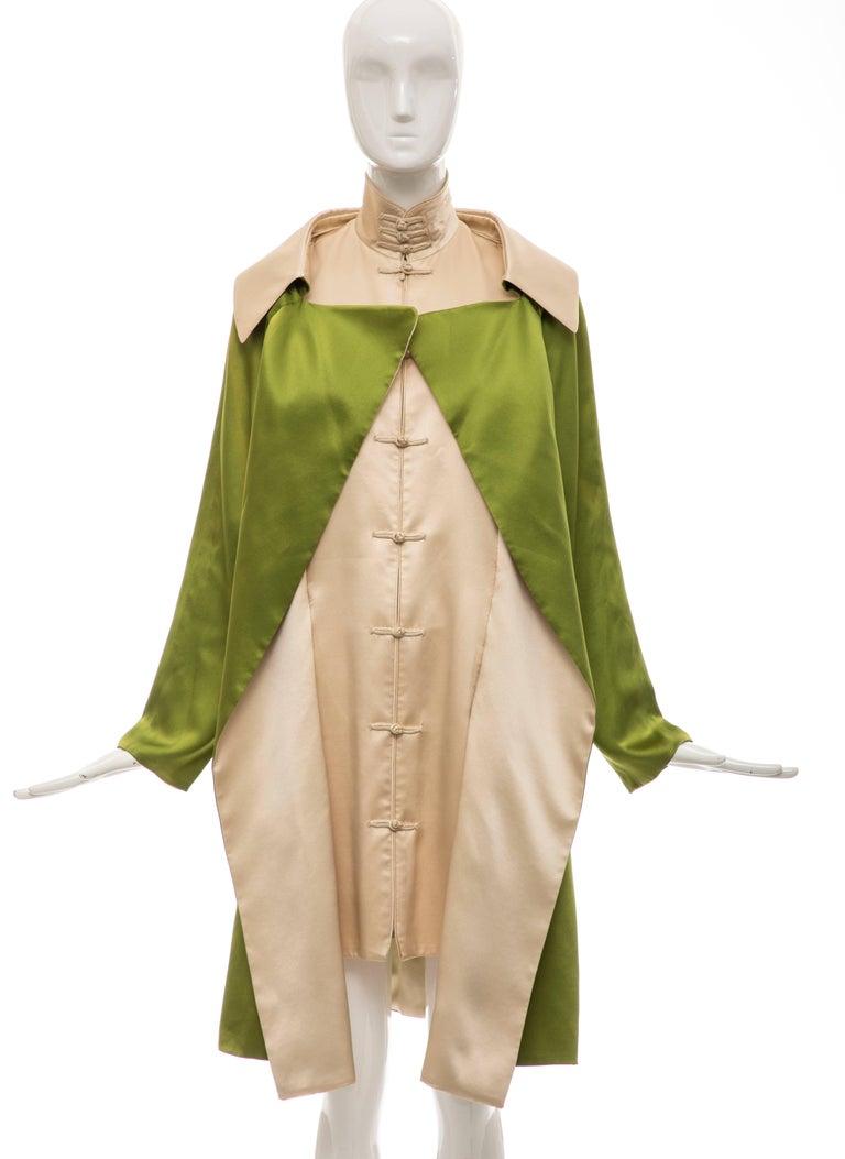 Jean Paul Gaultier Silk Charmeuse Dress Coat, Fall 2010 For Sale 7