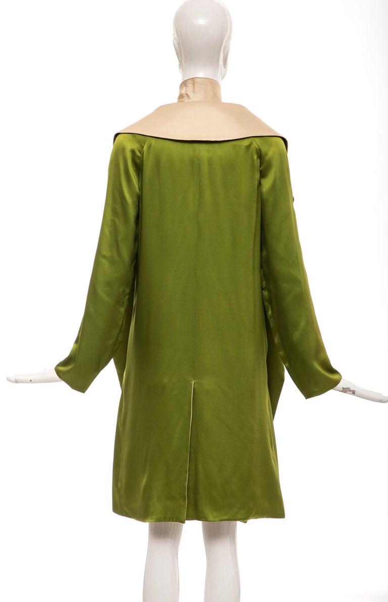 Brown Jean Paul Gaultier Silk Charmeuse Dress Coat, Fall 2010 For Sale