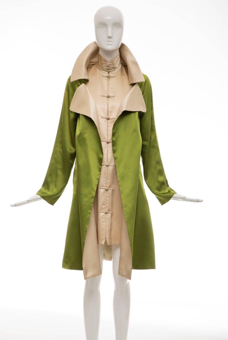 Jean Paul Gaultier Silk Charmeuse Dress Coat, Fall 2010 In Good Condition For Sale In Cincinnati, OH
