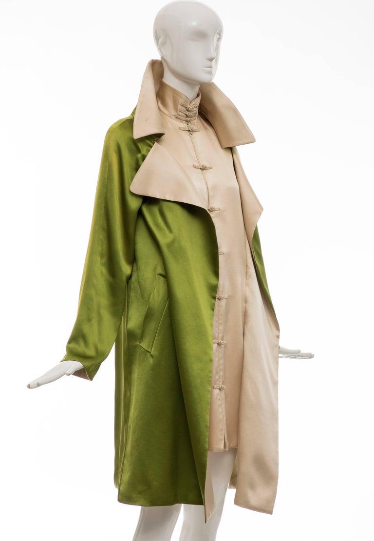 Women's Jean Paul Gaultier Silk Charmeuse Dress Coat, Fall 2010 For Sale