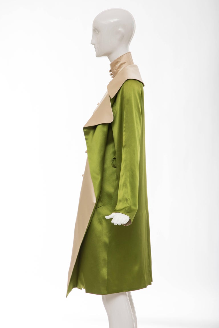 Jean Paul Gaultier Silk Charmeuse Dress Coat, Fall 2010 For Sale 4