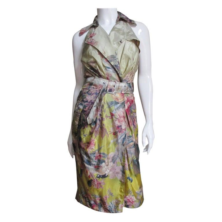 Jean Paul Gaultier Silk Flower Wrap Dress For Sale
