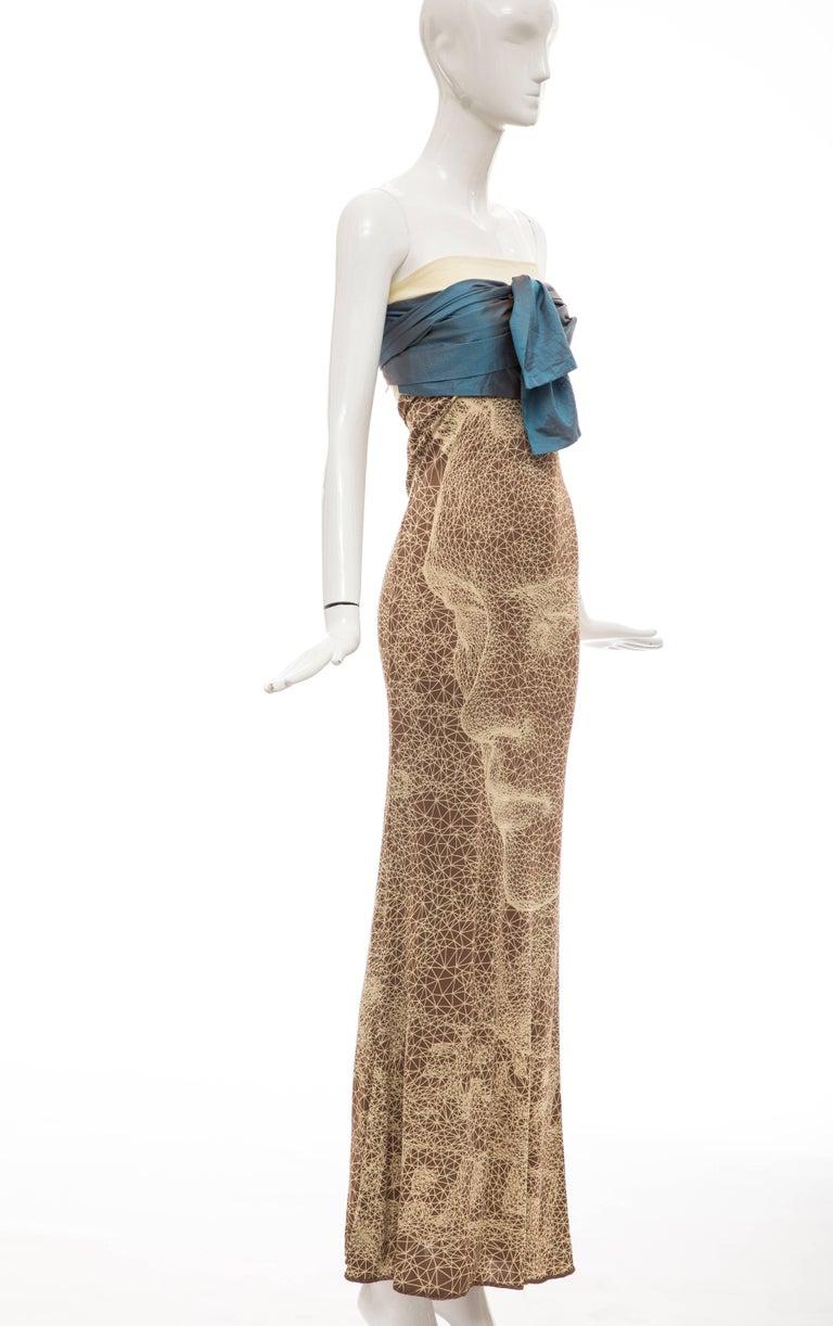 Brown Jean Paul Gaultier Silk Strapless Constellation Evening Dress, Spring 2001 For Sale