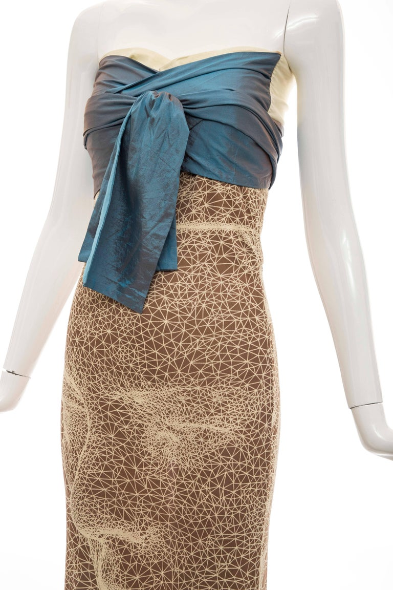 Jean Paul Gaultier Silk Strapless Constellation Evening Dress, Spring 2001 For Sale 2