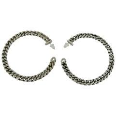 Jean Paul Gaultier Silver Toned Curb Chain Hoop Earrings