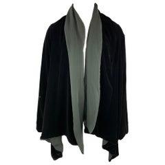 JEAN PAUL GAULTIER Size 10 Black Rayon / Silk Wing Sleeve Open Front Jacket