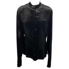 JEAN PAUL GAULTIER Size 10 Black Silk Blend Velour Band Collar Dress Top