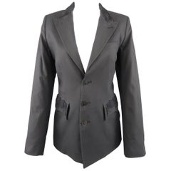 JEAN PAUL GAULTIER Size 10 Gray Cotton Embroidered Peak Lapel Blazer