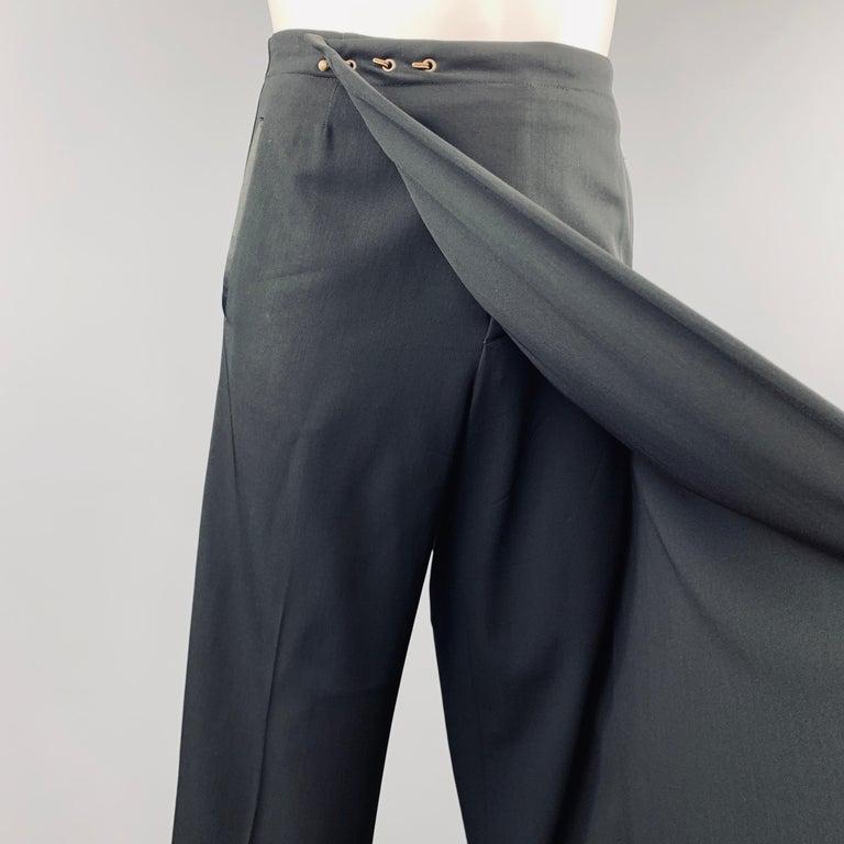Jean Paul Gaultier Size 30 Wrap Half Skirt Tuxedo Stripe