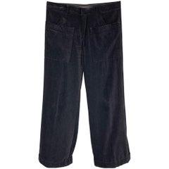 JEAN PAUL GAULTIER Size 34 Black Cotton Velvet Wide Leg Dress Pants
