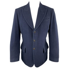 JEAN PAUL GAULTIER Size 38 Navy Lana Wool Peak Lapel Sport Coat