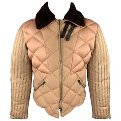 JEAN PAUL GAULTIER Size 40 Tan Quilted Patchwork Brown Fur Collar Puffer Jacket
