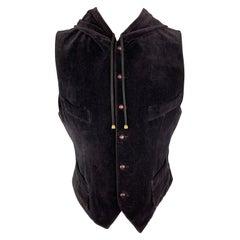 JEAN PAUL GAULTIER Size 42 Dark Purple Velvet Hooded Vest