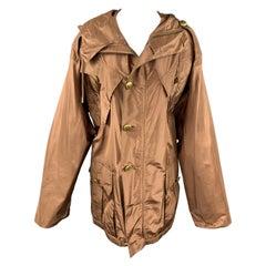 JEAN PAUL GAULTIER Size 6 Copper Silk Brass Button Hooded Jacket