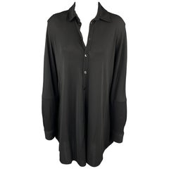 JEAN PAUL GAULTIER Size 8 Black Acetate Blend Button Up Shirt