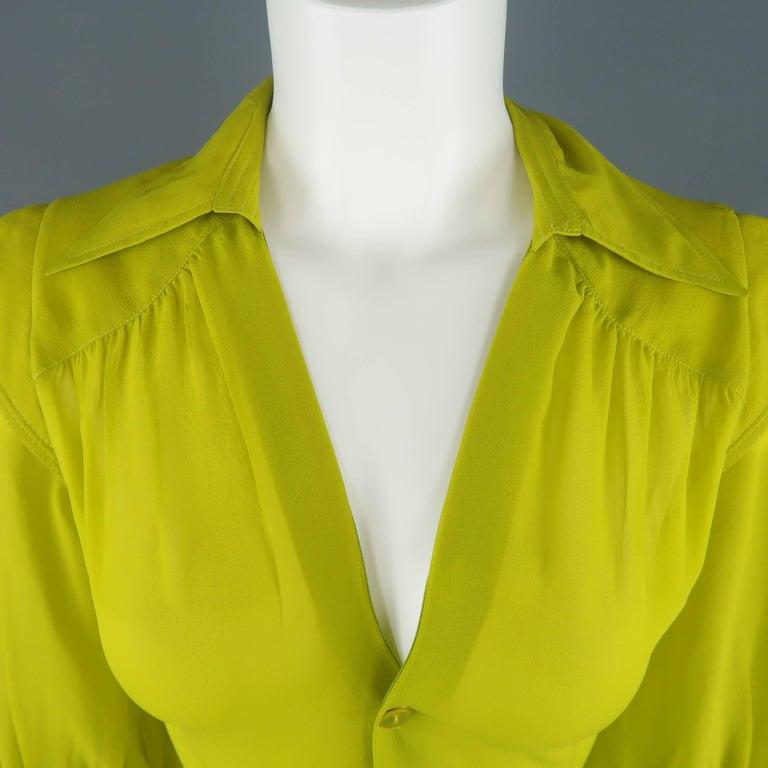 Jean Paul Gaultier Chartreuse Silk Chiffon Shoulder Panel Blouse For