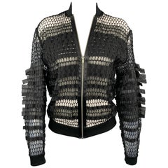 JEAN PAUL GAULTIER Size M Black Mesh Polyester Zip Up Jacket