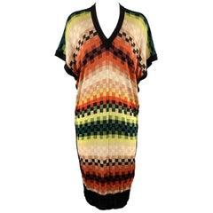 JEAN PAUL GAULTIER Size M Multi-Color Checkerd Rainbow V Neck Sweater Dress