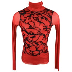 JEAN PAUL GAULTIER Size M Red & Black Polimide Pullover