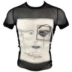 JEAN PAUL GAULTIER Size S Black & White Face Applique Mesh Crew-Neck T-shirt