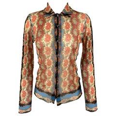 JEAN PAUL GAULTIER Size S Burgundy & Blue Paisley Mesh Button Up Long Sleeve Shi
