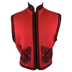 JEAN PAUL GAULTIER Size S Red Lana Wool Knit Black Emboidered Zip Vest