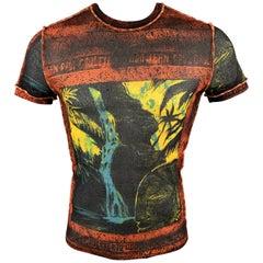 JEAN PAUL GAULTIER Size XL Black & Orange Print Poliammide Crew-Neck Pullover