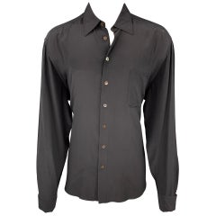 JEAN PAUL GAULTIER Size XL Black Silk French Cuff Corset Back Shirt