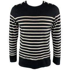 JEAN PAUL GAULTIER Size XL Navy & White Stripe Cotton Buttoned Pullover Sweater
