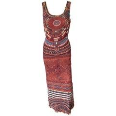 Jean Paul Gaultier Soleil Bodycon African Beads Print Mesh Maxi Dress