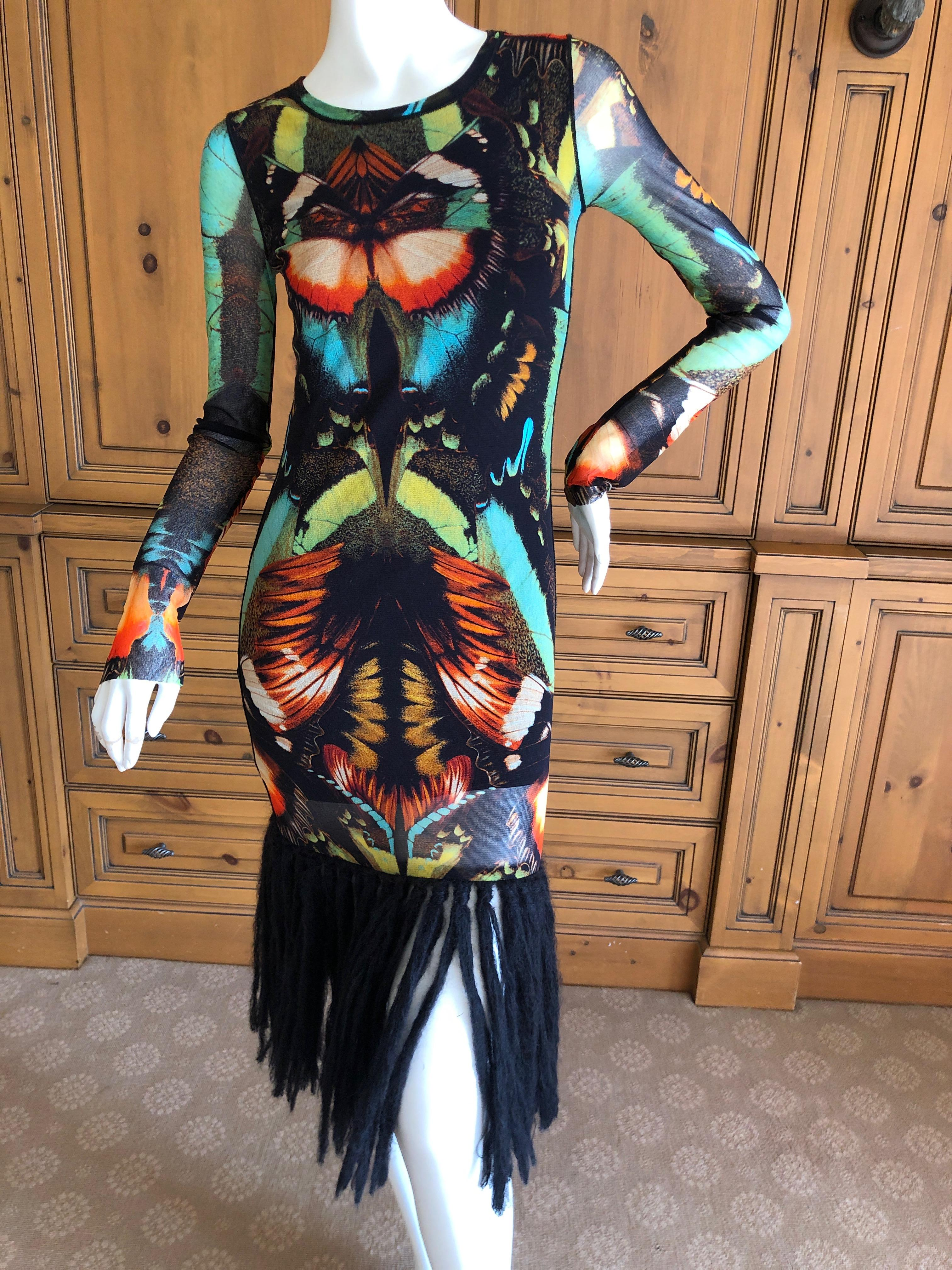c13b46b8894 Jean Paul Gaultier Soleil Butterfly Print Dress with Fringe Trim at 1stdibs