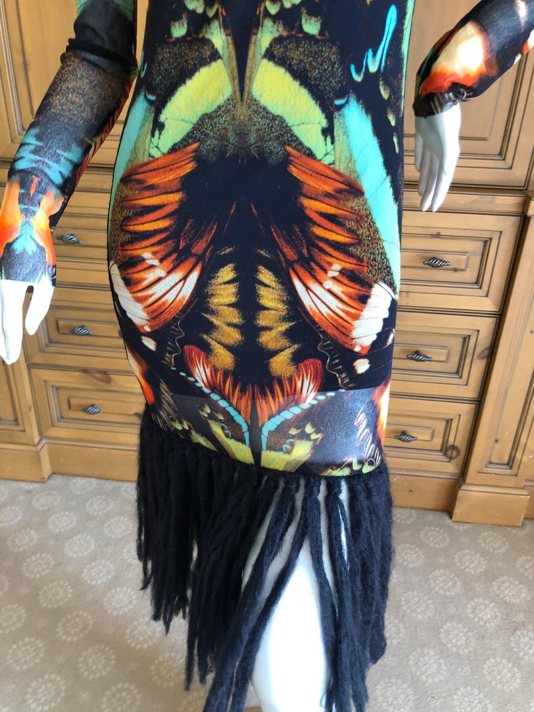 a0dbc8a9fcc Jean Paul Gaultier Soleil Butterfly Print Dress with Fringe Trim In  Excellent Condition For Sale In