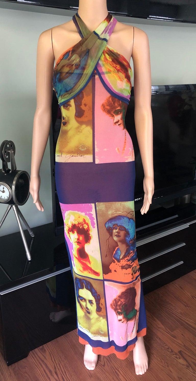 """Jean Paul Gaultier Soleil c.1990 Vintage """"Portraits"""" Mesh Maxi Dress Size M"""