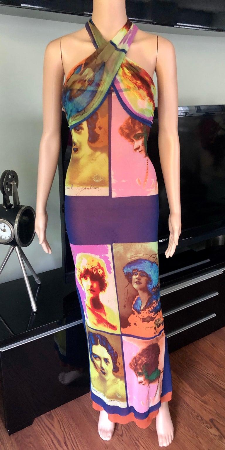 "Jean Paul Gaultier Soleil c.1990 Vintage ""Portraits"" Mesh Maxi Dress  In Good Condition In Totowa, NJ"