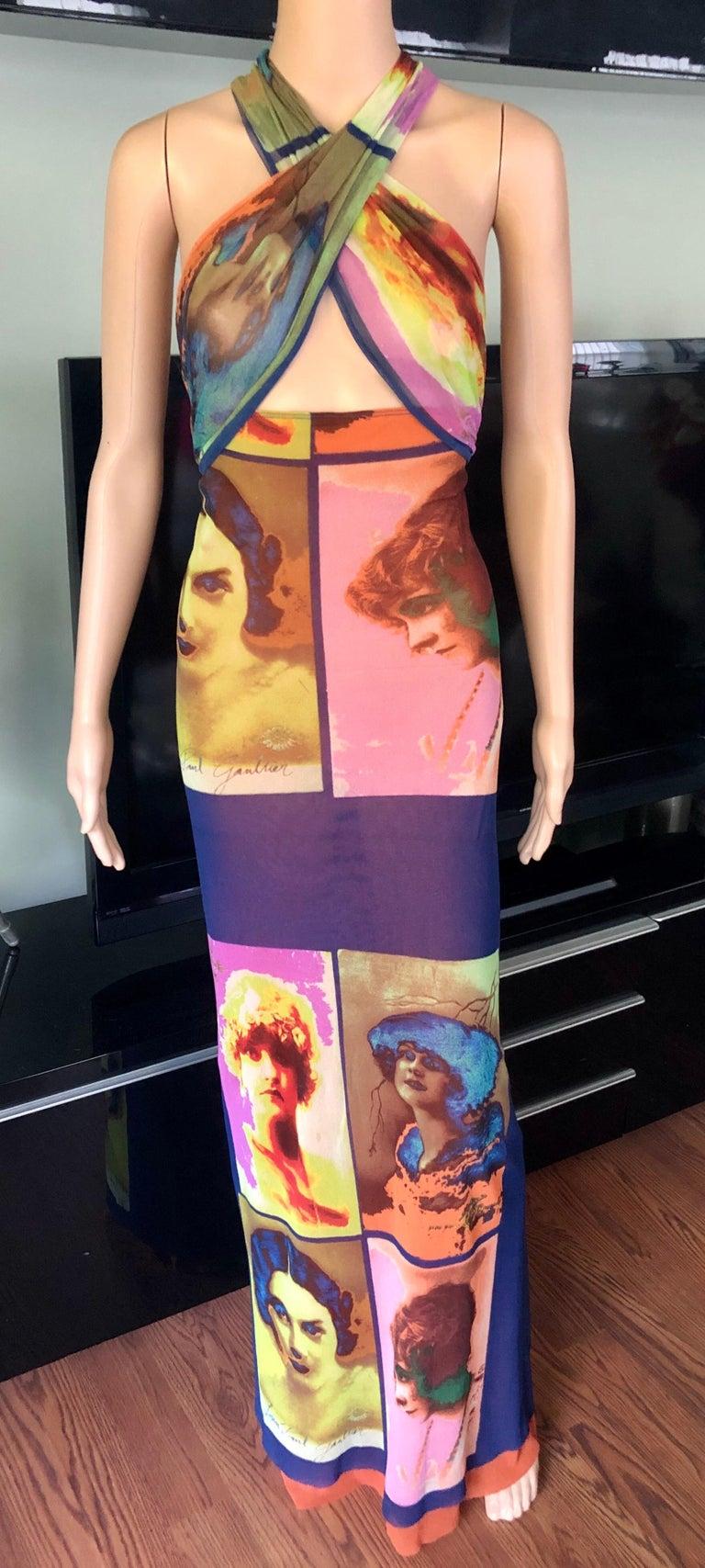 """Jean Paul Gaultier Soleil c.1990 Vintage """"Portraits"""" Mesh Maxi Dress  1"""
