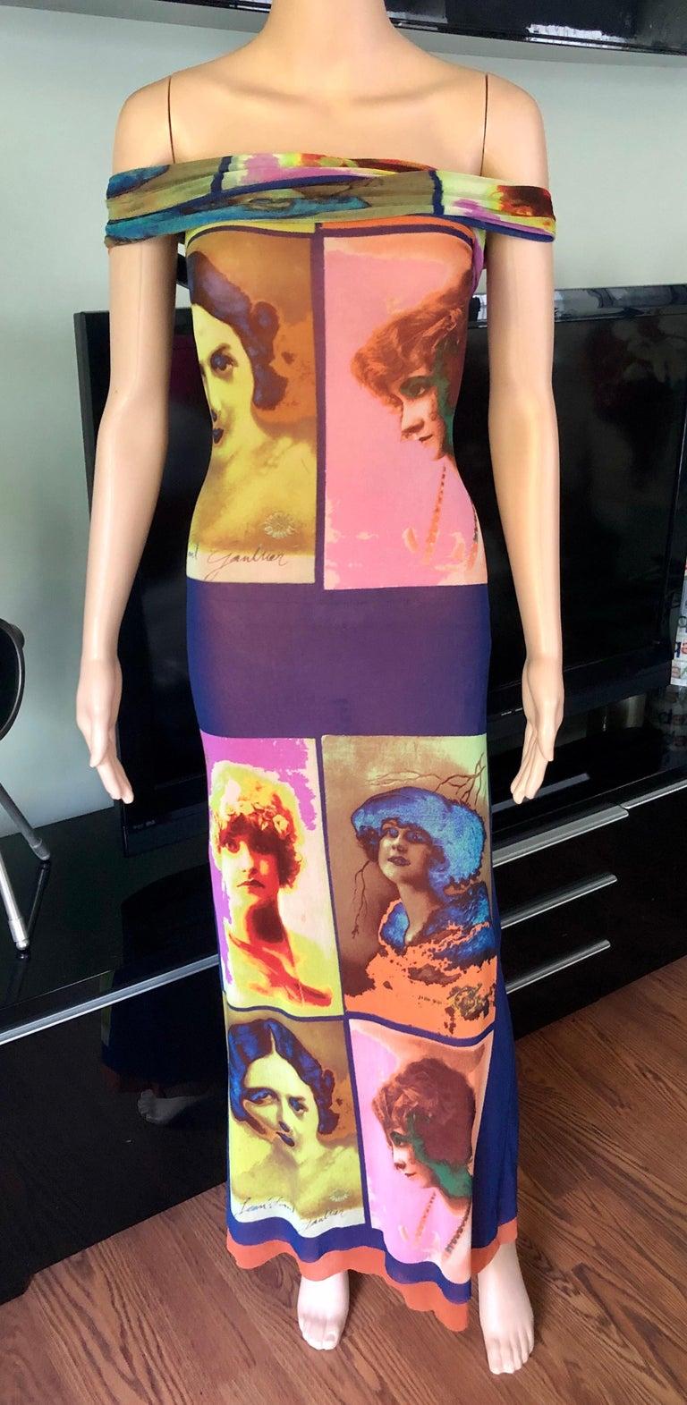 """Jean Paul Gaultier Soleil c.1990 Vintage """"Portraits"""" Mesh Maxi Dress  2"""