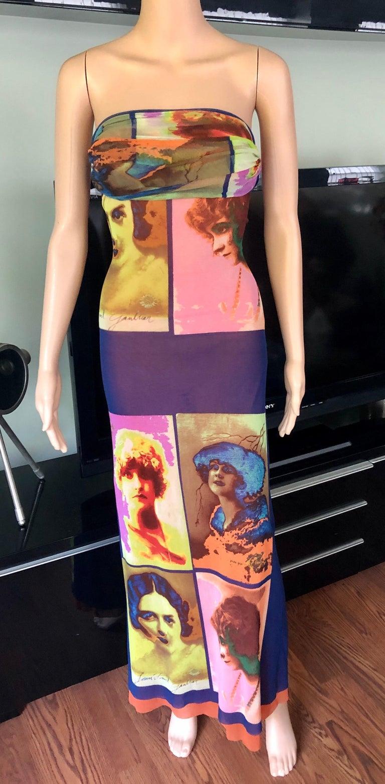 """Jean Paul Gaultier Soleil c.1990 Vintage """"Portraits"""" Mesh Maxi Dress  3"""