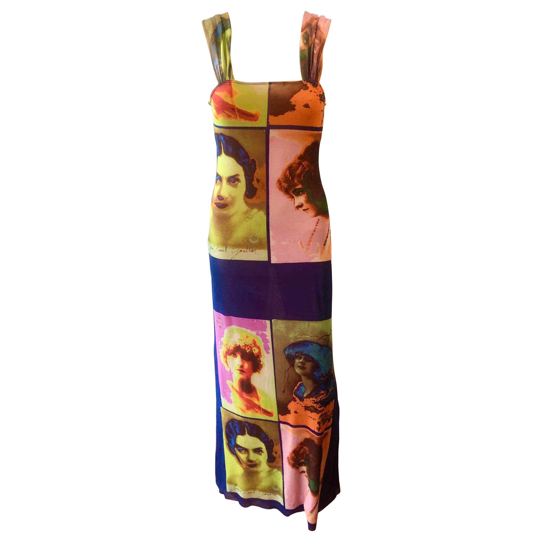 """Jean Paul Gaultier Soleil c.1990 Vintage """"Portraits"""" Mesh Maxi Dress"""