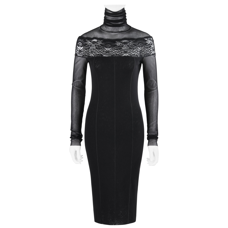 JEAN PAUL GAULTIER Soleil c.2013 Black Mesh Lace Panel Turtleneck Sheath Dress