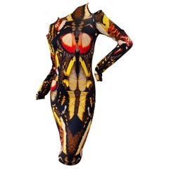 Jean Paul Gaultier Soleil Cold Shoulder Butterfly Print Dress