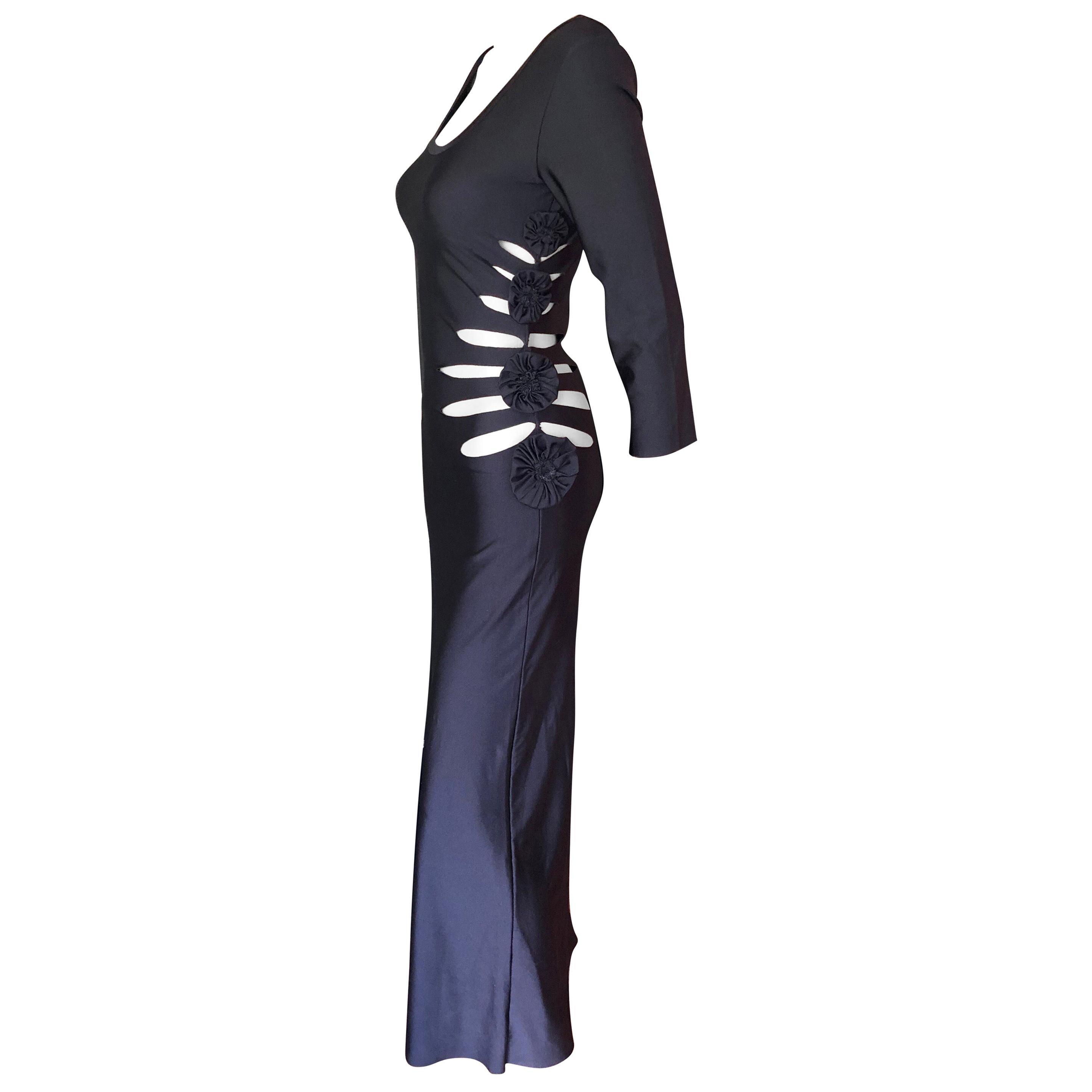 Jean Paul Gaultier Soleil Cutout Bodycon Black Maxi Dress