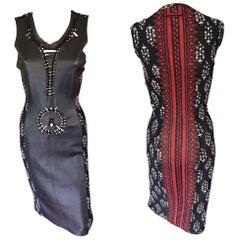 Jean Paul Gaultier Soleil Cutout Leather Mesh Bodycon Dress