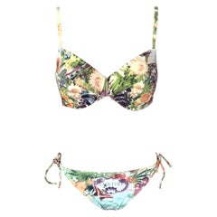 Jean Paul Gaultier Soleil Flamingo Tropical Bikini Swimwear Swimsuit 2 Piece Set