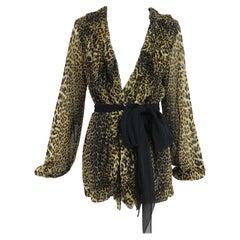 Jean Paul Gaultier Soleil Leopard Print Mesh Ruffle Trim Leopard Print Jacket