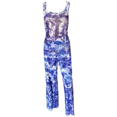 Jean Paul Gaultier Soleil Logo Flamingo Print Mesh Top & Pants 2 Piece Set