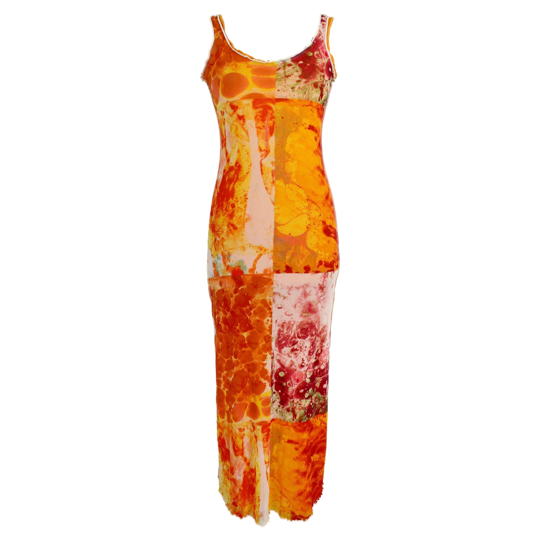 Jean Paul Gaultier Soleil Orange Floral Cocktail Long Fitted Dress 1990s